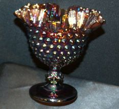 Imperial Hand Crafted Purple Carnival Glass Compote USA AA19-CD0041 Vintage image 3