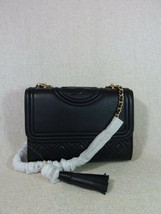 NWT Tory Burch Black Leather Small Fleming Convertible Bag $458 - $453.42