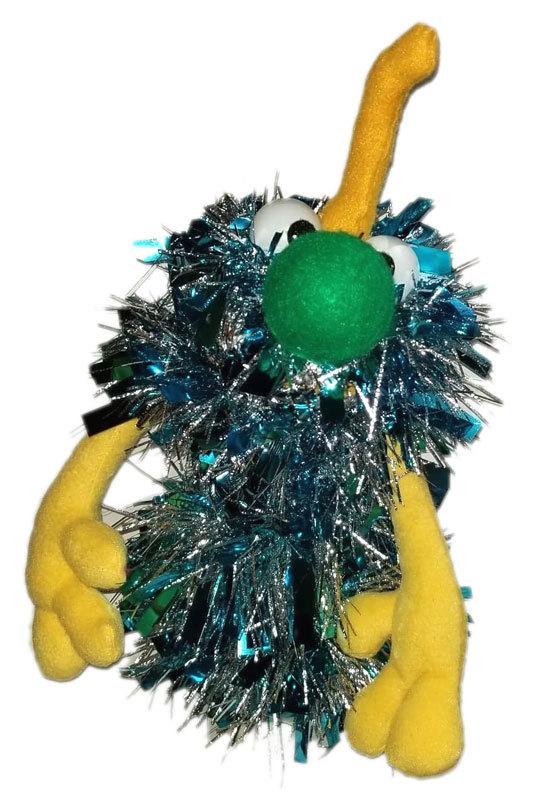 C8 * Deluxe Custom Sparkly Light Blue Monster w/ Horn Sock Puppet * Custom Made