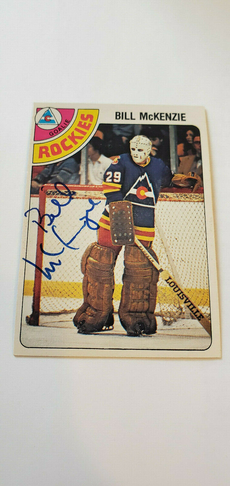 Primary image for 1978-79 OPC SIGNED CARD BILL MCKENZIE ROCKIES SCOUTS RED WINGS ENGLAND UK # 275