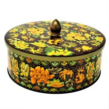 Floral DAHER Tin Brown w/Yellow Floral Design Long Island NY Made in Eng... - $10.40