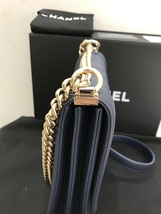 AUTHENTIC CHANEL 2019 LE BOY NAVY QUILTED LAMBSKIN FLAP BAG Gold HE image 7
