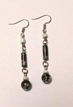 Black white beaded dangle earrings - $13.00