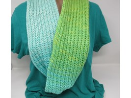 Handcrafted Knitted Cowl Shawl Wrap Teal/Green Merino Cashmere Female Adult - $53.38
