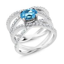 2.23 Ct Oval Blue Topaz 925 Sterling Silver Ring - $95.98