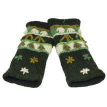 100% Wool Embroidered Hand Warmers with Fleece Lining - Hand knit - Gree... - $18.80
