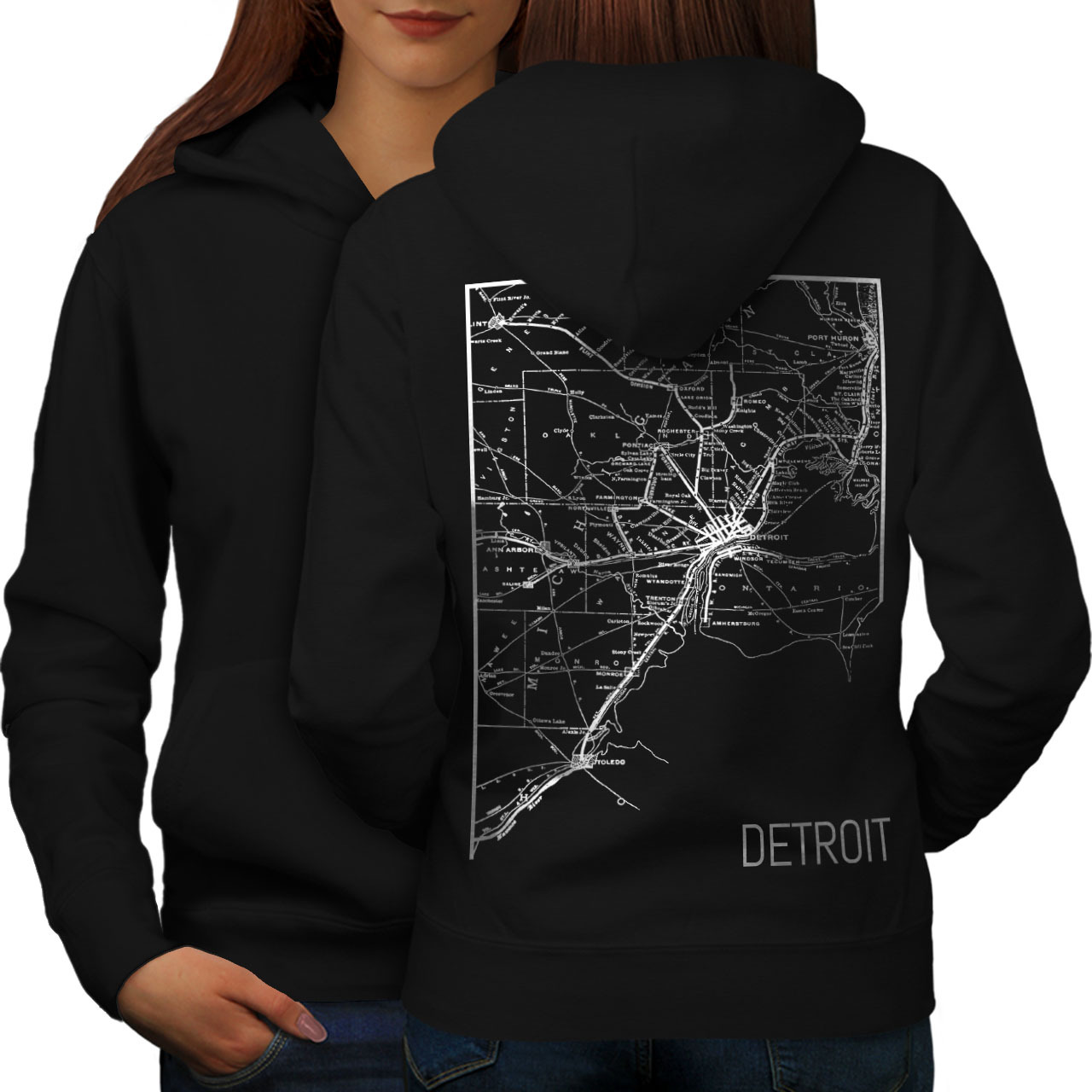 Primary image for America City Detroit Sweatshirt Hoody Town Map Women Hoodie Back