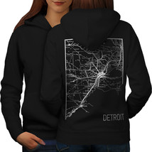 America City Detroit Sweatshirt Hoody Town Map Women Hoodie Back - $21.99+
