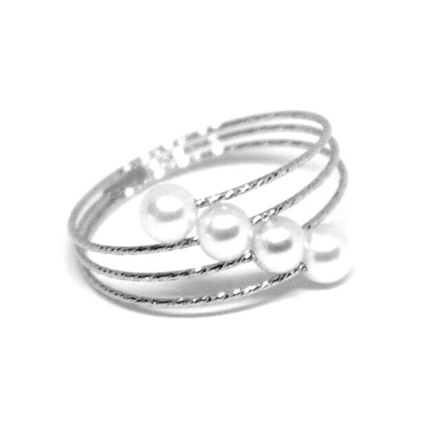 18K WHITE GOLD MAGICWIRE BAND RING, ELASTIC WORKED MULTI WIRES, DIAGONAL PEARLS