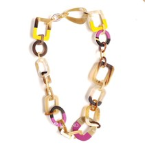 Natural Horn Lacquer Chain Jewlery Yellow Pink Necklace  - J17366 - $29.00