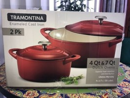Tramontina Dutch Oven Set, 2-pack (Red) Cast Iron Porcelain Enamel Finish - $107.10