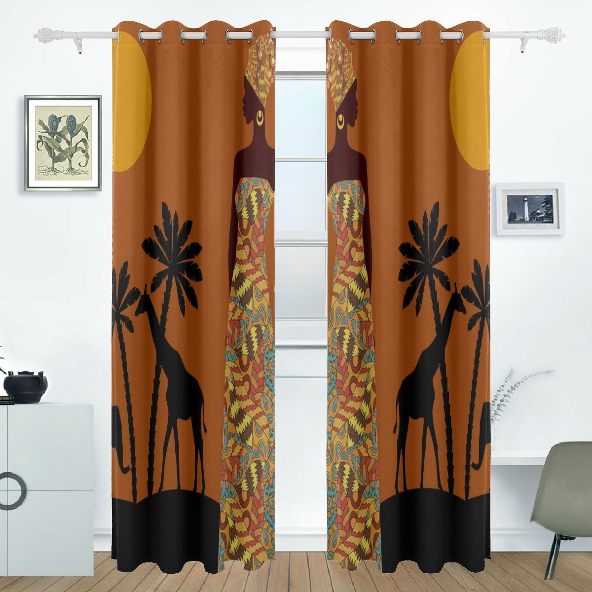 Teen Bedroom Curtains African Woman Tribal Ethnic Print 84