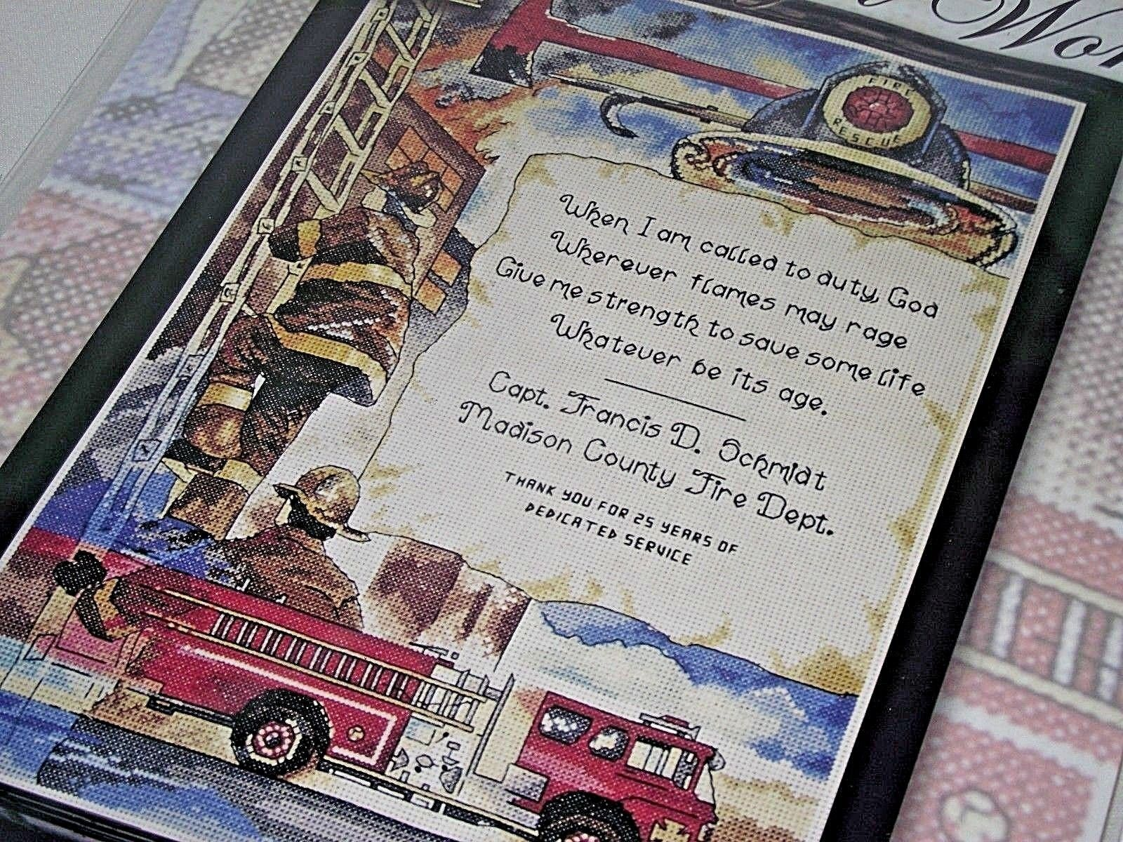 Fireman Fire Department Cross Stitch Kit Call to Duty Recognition Honor Service