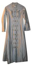 RARE Baby Blue Satin Long Dress Bows Long Sleeve Antique vintage costume XS - $18.80