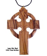 """Large Olive Wood Celtic Cross Necklace On Black Lace Cord 4"""" x 3.75""""/10c... - $15.00"""