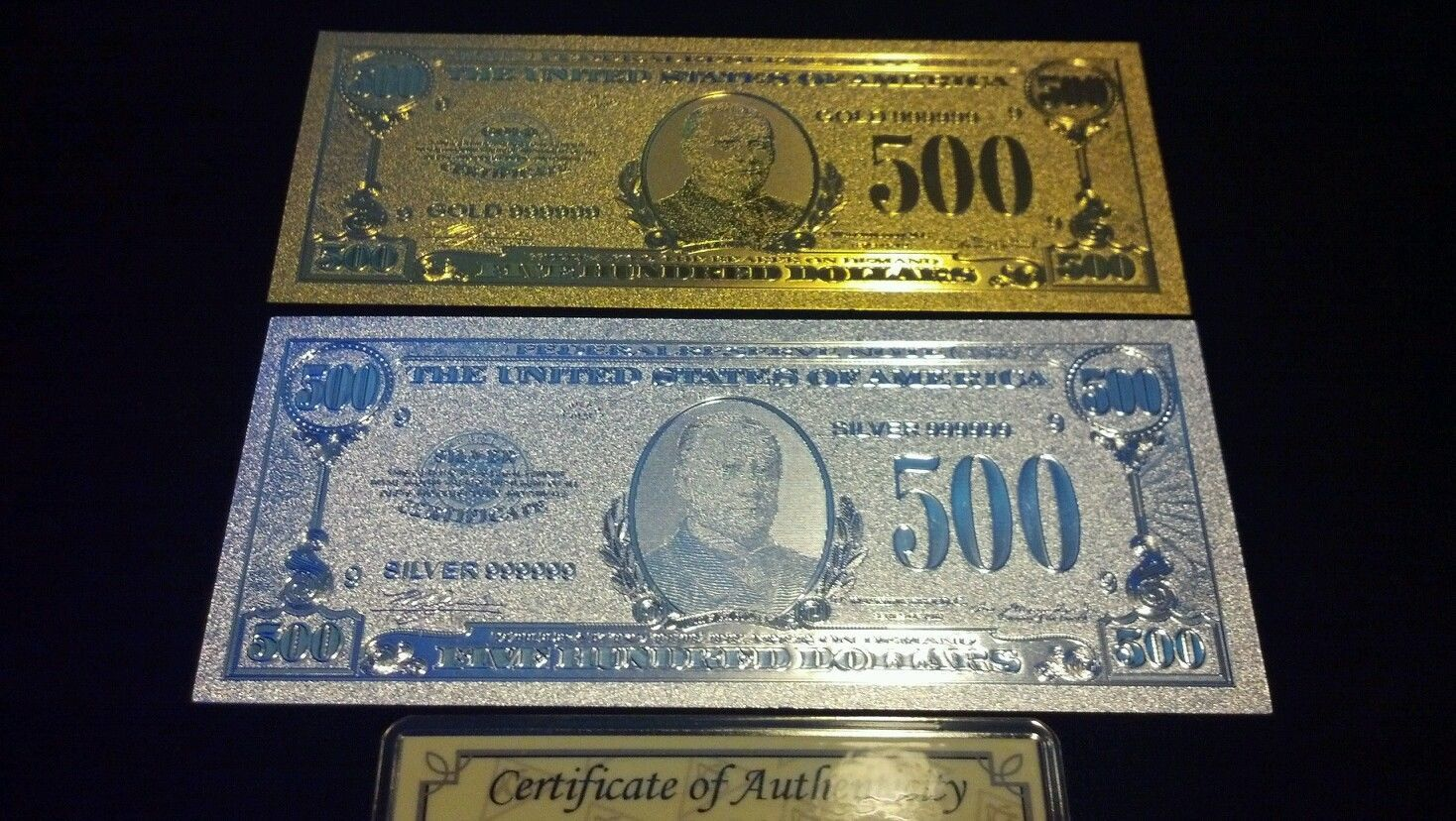 5 Pc.LOT~2 U.S $500 BANKNOTE REPS.*(1 GOLD& 1 SILVER+TINY SILVER BAR+COIN/FLAKEk