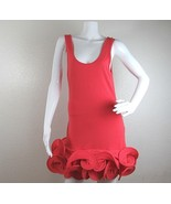 ASOS Ruffled Dress Size 6 Coral Wired Stretch Pullover Sleeveless Scoop ... - $18.69