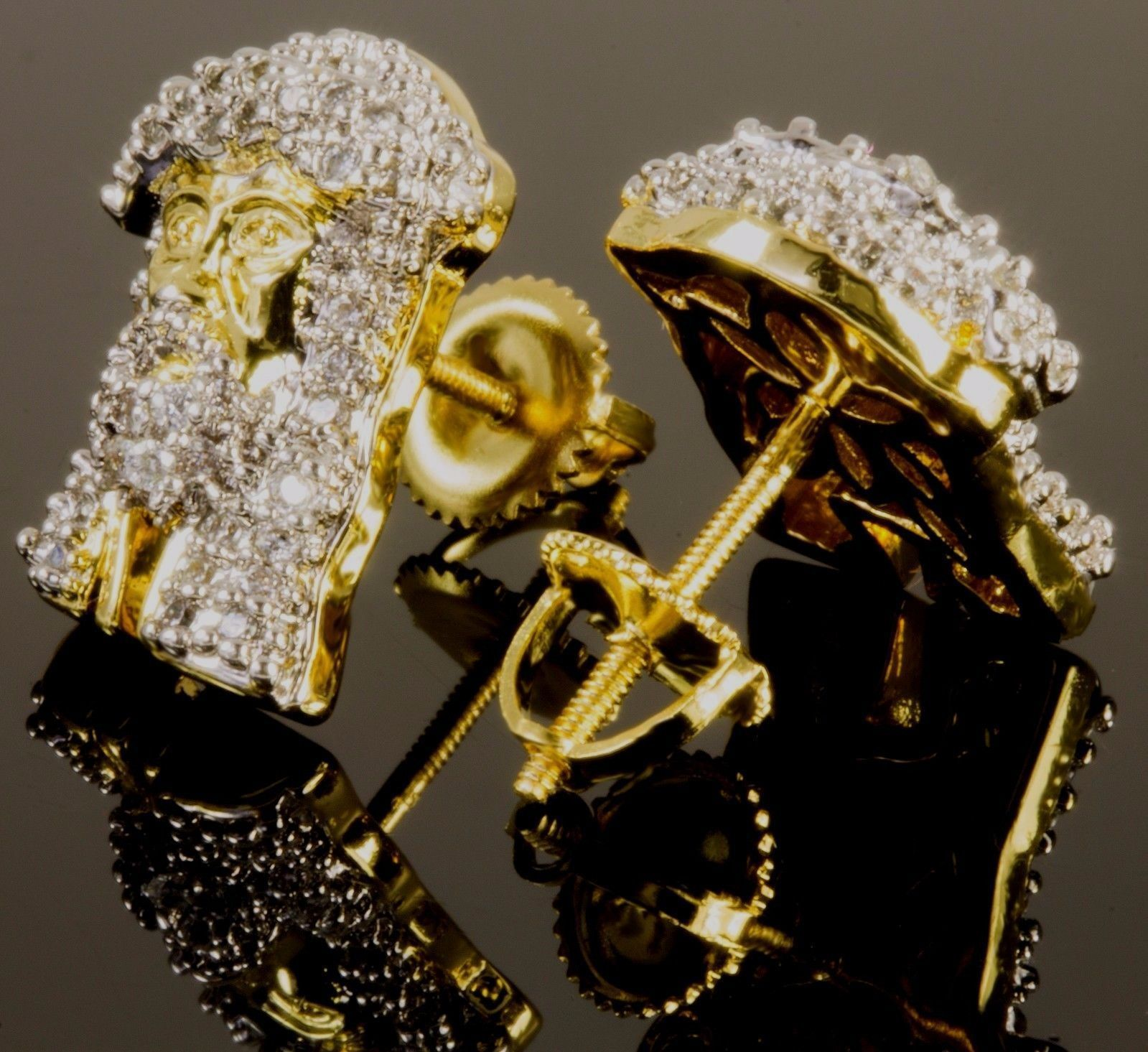 14k-Yellow-Gold-Fn-Twoo-Tone-Jesus-Face-Head-Stud-Earring With Sim Diamond