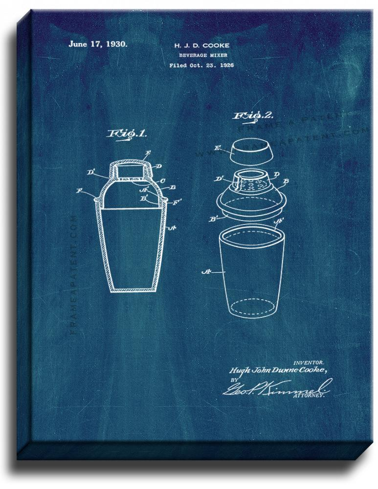 Primary image for Beverage Mixer Patent Print Midnight Blue on Canvas