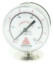ANDERSON 1502808 PHARMACEUTICAL SERIES PRESSURE GAUGE 0-100 PSI 0-6.8 BAR