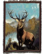 72x54 Deer BUCK Mountain Tapestry Afghan Throw Blanket  - $60.00