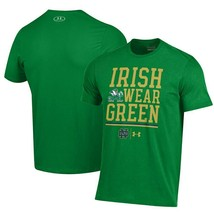Mens Under Armour Notre Dame Irish Wear Green Short Sleeve T-Shirt  Mult... - $25.48