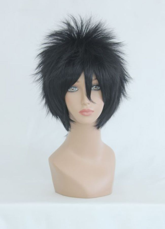 Anime Naruto Sasuke Uchiha Short Wig Cosplay Costume Men Black Cool Male