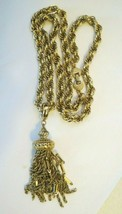 "VTG Monet Tassel Necklace Chain Designer Gold Plated 28"" Filigree Dangle... - $64.34"