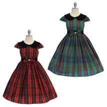 Green Classic Plaid Velvet Collar Waist Trim with A Bow Girl Dress image 3