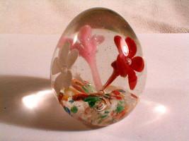 paperweight  art glass sculpture egg floral flowers multi color colors   - $22.00
