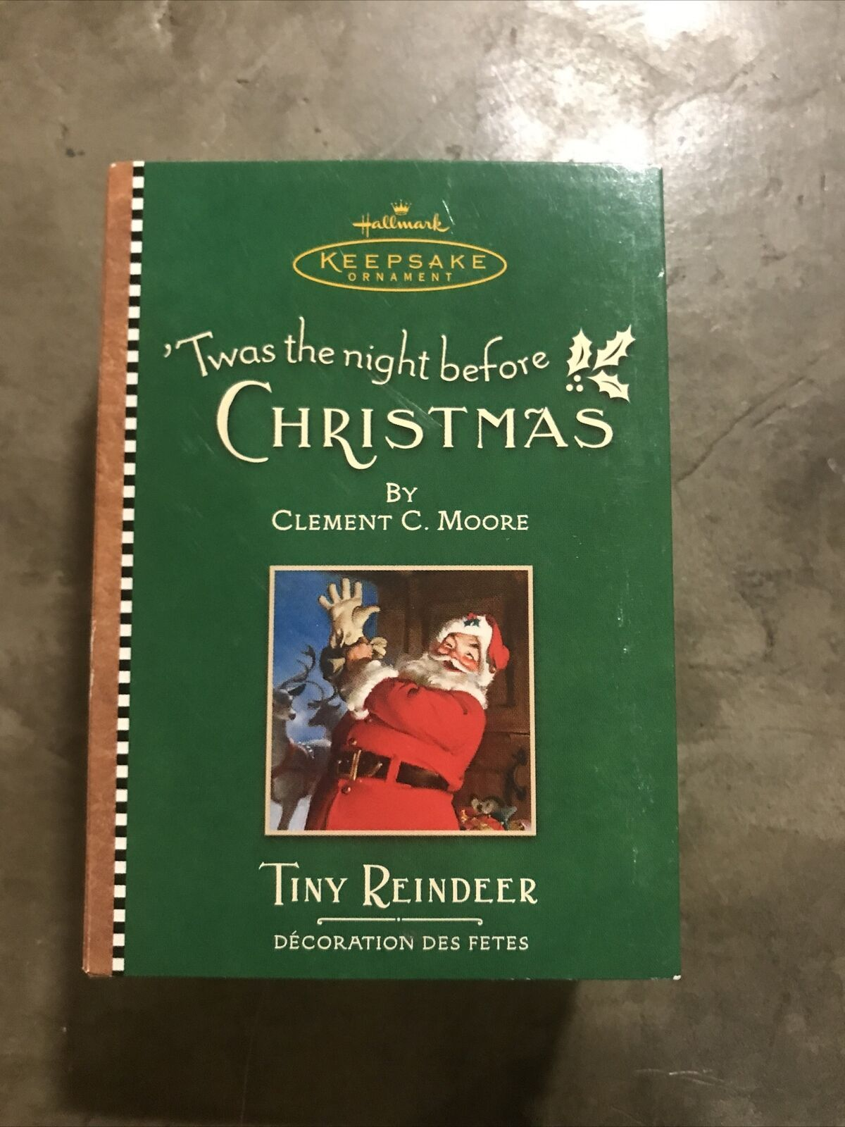 Primary image for 2001 Hallmark Ornament Tiny Reindeer 3rd in Twas The Night Before Christmas NIB