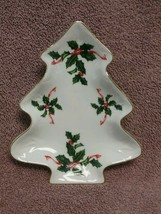 Lefton ~ Candy Dish ~ Christmas Tree ~ Holly with Gold Trim - $3.22