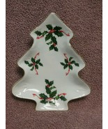 Lefton ~ Candy Dish ~ Christmas Tree ~ Holly with Gold Trim - $2.76