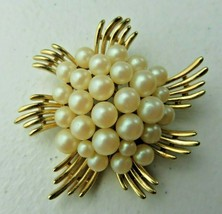 Vintage TRIFARI Signed faux pearl & gold metal Art Deco Brooch Pin - $30.00