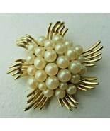 Vintage TRIFARI Signed faux pearl & gold metal Art Deco Brooch Pin - $30.00