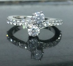 Certified 1.45Ct D/VVS1 Forever US Two-Stone Engagement Ring in 14k Whit... - £206.08 GBP