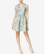 Betsey Johnson women's Floral Jacquard Bow Dress LTBLUE/GOLD SIZE 6 MSRP... - $33.66