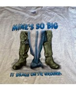 Big Fish Tee Shirt Oatmeal Mine's So Big Drags Ground Size L 100% Cotton - $18.79