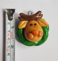 Clay dough Reindeer face Christmas xmas Tree Holiday season  Ornament Pre-owned - $9.90