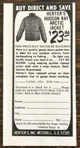 1974 Herter's Inc Mitchell South Dakota Print Ad Hudson Bay Arctic Jacket - $8.49