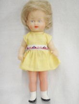 "Schutz Doll Plastic Jointed 7.5"" Blond Hair Blue Eyes Yellow Dress Turtl... - $9.89"