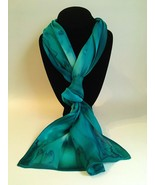 Hand Painted Silk Scarf Teal Blue Green Unique Womens Head Neck Wrap Scarves New - £44.76 GBP