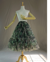 Women Knee Length Puffy Tulle Skirt Army Pattern Layered Tulle Skirt A-line Plus image 3