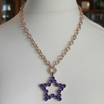 ROSE BRONZE REBECCA NECKLACE BIG STAR WITH PURPLE CRYSTAL CT 20.00 MADE IN ITALY image 1
