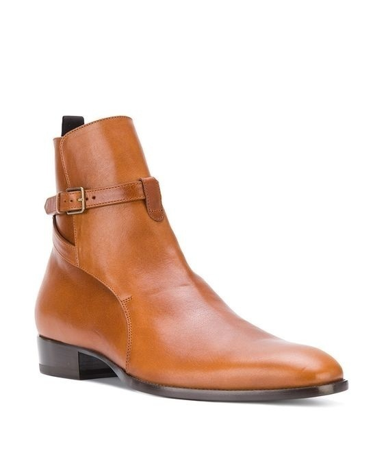 Made To Order Handmade Men High Ankle Brown Color Genuine Leather Jodhpurs boots