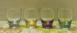 Vintage Colored Shot Glasses Tinted Colors Retro Barware Glassware Boho - $12.99