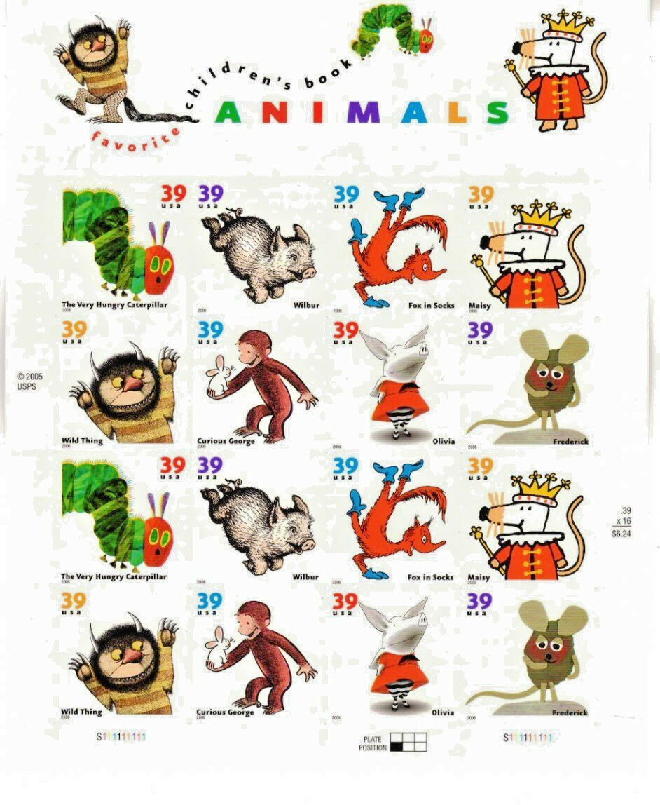 Favorite Children's Book Animals, Sheet 16 x 39 cent USPS Postage Stamps MNH XF/ - $21.78