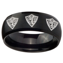 10mm Multiple CTR Dome Brush Black Tungsten Carbide Mens Ring Engraved - $44.99