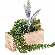 Wood Planter Box, Rectangular Rustic Wood Planter with 3 Removable Liner... - $7.92