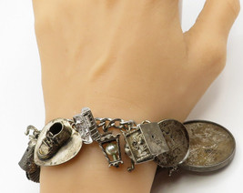 925 Sterling Silver - Vintage Chronological Collectibles Charm Bracelet - B1579 - $322.53